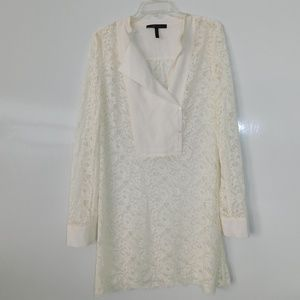 Bcbgmaxazria white lace long sleeve mini dress